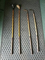 4 Hickory Wood Shaft Golf Clubs Wilbur Oakes Driver, Brassie, Mid Iron, Mashie