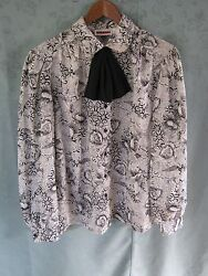 Vintage Judy Bond Blouse Size 14 Black And White Print Career Top Tie Neck Shirt