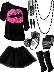 80s Costume Accessories Set T Shirt Tutu Headband Earring Necklace Leg Warmers