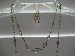 Lot 3 Artisan Necklaces Earrings Gems 14k Stations