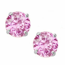 14k Solid White Gold October Pink Sapphire Round Stud W/ Screw Back Earrings