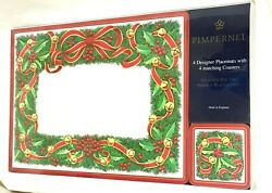 4 Pimpernel Placemats And Coasters Christmas Holiday Wreath Discontinued Style