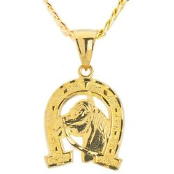 Gold Plated Macy's Horse Head In Horseshoe Pendant 20 Chain Necklace Mpg 016 G