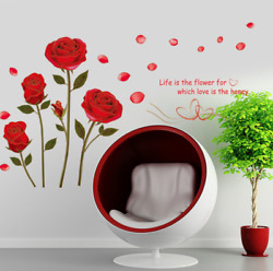 Red Rose Wall Decal Mural Removable Flowers Wall Sticker Vinyl Art Wall Decor US