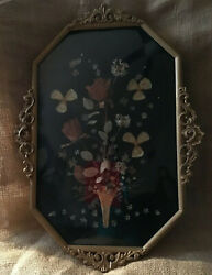 Antique Metal Bubble Glass Frame Artwork Included