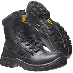 Mens Tactical Side Zip Army Patrol Combat Boots Security Police Leather Cadet Sz