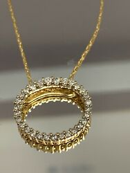 14ky Oval 0.75ctw Diamond Pendant And Chain Vintage Nice Size Signed Wic