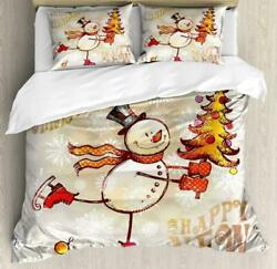 Ambesonne Christmas Duvet Cover Set Skating Happy Snowman With Christmas Tree C