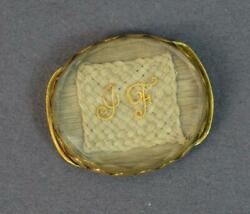 Rare Early Georgian Stuart Crystal 18ct Gold Slider With Hair And Initials Jf