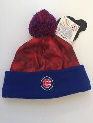Chicago Cubs Knit Blue And Red Beanie Winter Hat With Lights, Cuff And Tassle Nwt