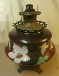 Antique Consolidated Kerosene Hand Painted Table Lamp With Metal Base