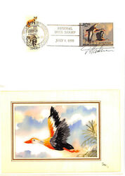 Rw57 1990 Duck Stamp Kitty Galup Embroidered Hand Painted Cachet [393687]