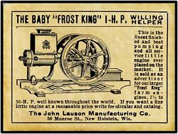 1910 John Lauson Frost King Gas Engines New Metal Sign New Holstein Wisconsin