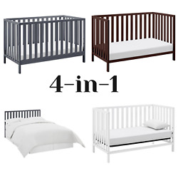 Child Baby Nursery Crib Convertible Full Size Toddler Bed Daybed Multiple Colors