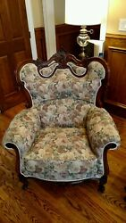Antique Beautiful Hand Carved Mahogany Furniture Couch And Two Chairs Arm Chairs