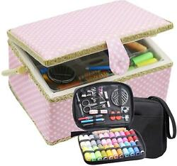 Large Sewing Basket With Sewing Kit, Sewing Box Organizer With Accessories, Sewi