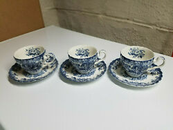 Johnson Bros Coaching Scenes-blue 3 Cup And 3 Saucer- England Nos