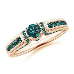 Real Diamond And Gold Vintage Inspired Round Enhanced Blue Diamond Engagement Ring