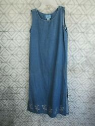Jane Ashley Jean Dress Size S Petite Blue Embroidery Sleeveless Pull Over Casual $9.99