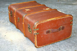 Vintage 1900's Large Low Profile Trunk Case Wooden Bumpers W Insert Tray