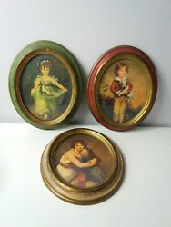 Lot Of 3 Vintage Victorian Pictures Framed Oval Plastic Wall Decor