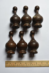 6 Turned Wood Finials 3 Pairs Antique Late 1800's Early 1900's Clock Curtain Rod