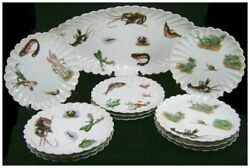 Lewis Strauss And Sons Carlsbad Porcelain Fish Platter And 11 Plates