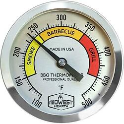 Midwest Hearth Bbq Smoker Thermometer For Barbecue Grill, Pit, Barrel 3 Dial 2