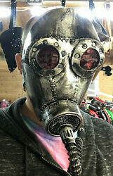 Hand Stitched Custom Leather Costume Gas Mask Steampunk Halloween