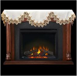 Linens, Art And Things Fireplace Mantel Scarf With Gold Beige Lace On White 19 W