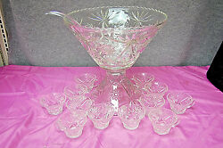 Anchor Hocking Early American Prescut Punch Bowl 15 Piece Set Vintage L2579