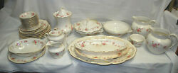 Edwin M Knowles China Kno341 Embossed Scallop W/pink Rose Garland 39+ Pcs. L2724
