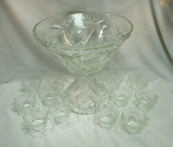 Anchor Hocking Eapc Star Of David Punch Bowl, Stand/pedestal And 12 Glasses M4692
