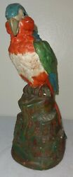 Antique Large Chalkware Still Pennybank Colorful Parrot Perched On Stump 1890's