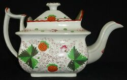 Antique Staffordshire Pearlware Teapot Polychrome Strawberry Pattern