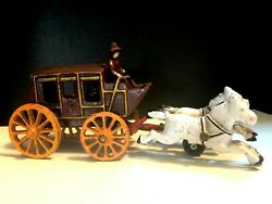 Cast Iron Horse-drawn Stage Coach Metal Toy With Cowboy Driver