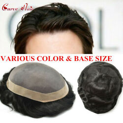 Fine Mono Durable Toupee For Men Blonde Black Human Hair System Grey Hairpieces