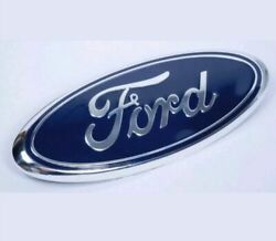 Blue And Chrome 2005-2014 Ford F150 Front Grille/ Tailgate 9 Inch Oval Emblem 1pcs