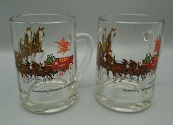 Vintage Budweiser Champion Clydesdales Glasses Beer Cups Mugs Set Of 2
