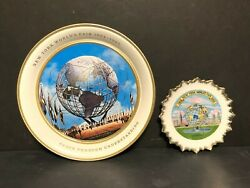 1964-1965 New York Worlds Fair Unisphere Souvenirs Tin Serving Tray And Wall Plate