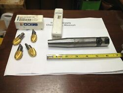 Lot Of 4 , Seco Minimaster 54887, Carbide Milling Inserts, With Used Holder