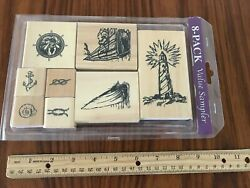 Set Of 8 Rubber Stamps Wood Block Light House Sailboat Nautical