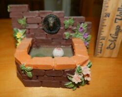 Miniature Room Box Doll House Outside Fountain Water Brick Lion Head Lily Pad