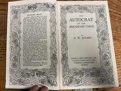 The Autocrat Of The Breakfast Table Holmes Antique Book 1907