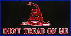 Gadsden Don#x27;t Tread On Me Red Snake Black With Blue Border Decal Bumper Sticker
