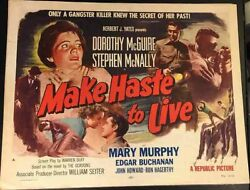 Make Haste To Live '54 Style A, D.mcguire Rare Original 1/2-sheet Film Poster