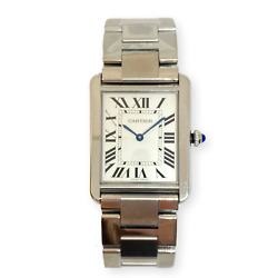 Pre-owned Large Tank Solo Stainless Steel Watch On Bracelet 3169