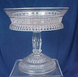 Eapg Glass Ring And Block Pattern Compote King, Son And Co. Omn. No. 28