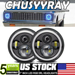 For 1969-1974 Chevy K30 Pickup Halo Rgb 7 Led Headlights Bluetooth App Combo 2x