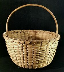Antique Round Hand Woven Split Oak Gathering Basket With Bent Wood Handle Vfine